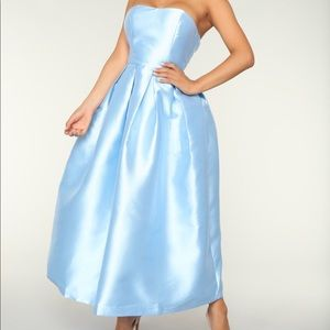 Light Blue Fit and Flare Dress